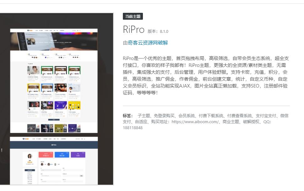 [独家首发]WordPress Ripro v8.7 日主题 虚拟资源素材下载主题网站源码破解版-奇客云